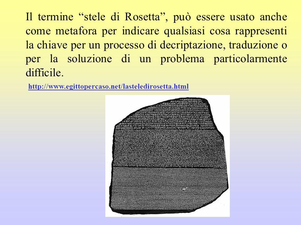 Il termine stele di Rosetta, può essere usato anche come metafora per indicare qualsiasi cosa rappresenti la chiave per un processo di decriptazione,