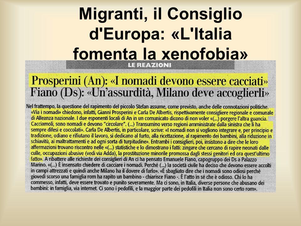 Migranti, il Consiglio d'Europa: «L'Italia fomenta la xenofobia»