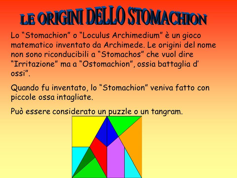 I 14 pezzi hanno la caratteristica di essere commensurabili al quadrato che compongono: infatti 5 pezzi hanno un area pari ad 1/12 del quadrato, 4 pezzi 1/24; 2 pezzi 1/48 ed i restanti tre pezzi hanno un area pari rispettivamente a 1/16, 1/6 (il quadrilatero), e 7/48 (il pentagono).