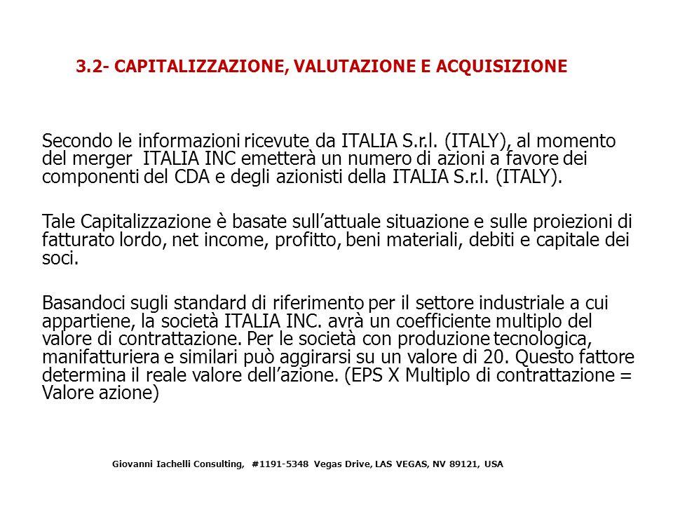 Secondo le informazioni ricevute da ITALIA S.r.l.