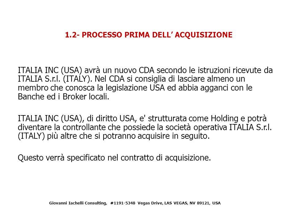 ITALIA INC (USA) avrà un nuovo CDA secondo le istruzioni ricevute da ITALIA S.r.l.