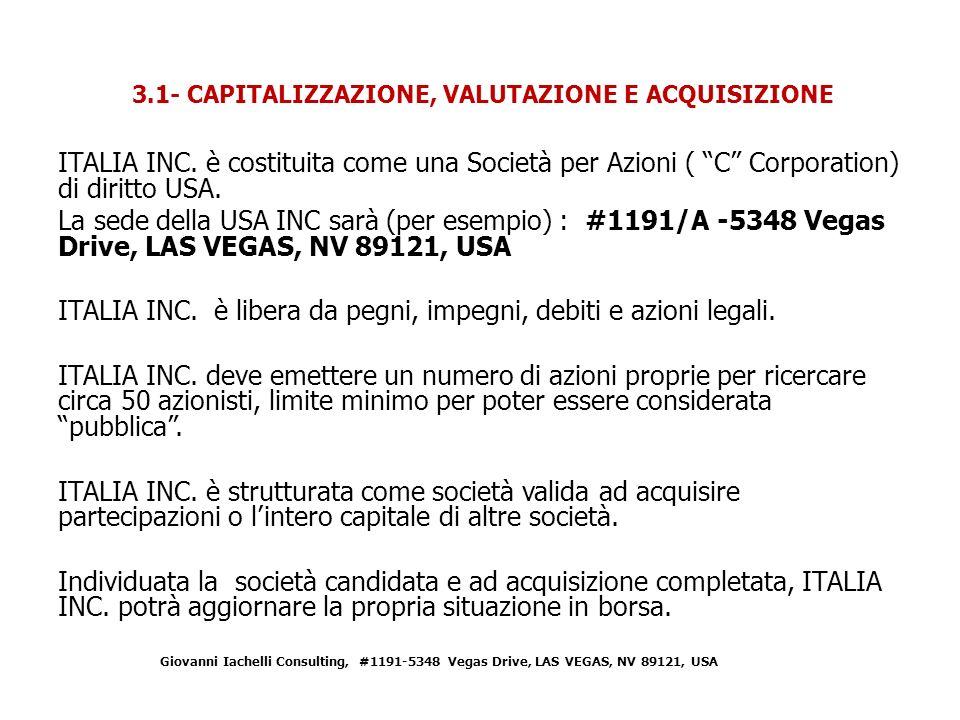 ITALIA INC.è costituita come una Società per Azioni ( C Corporation) di diritto USA.