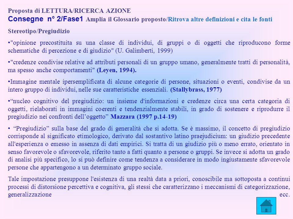 Proposta di LETTURA/RICERCA AZIONE Consegne n° 2/Fase1 Amplia il Glossario proposto/Ritrova altre definizioni e cita le fonti Stereotipo/Pregiudizio