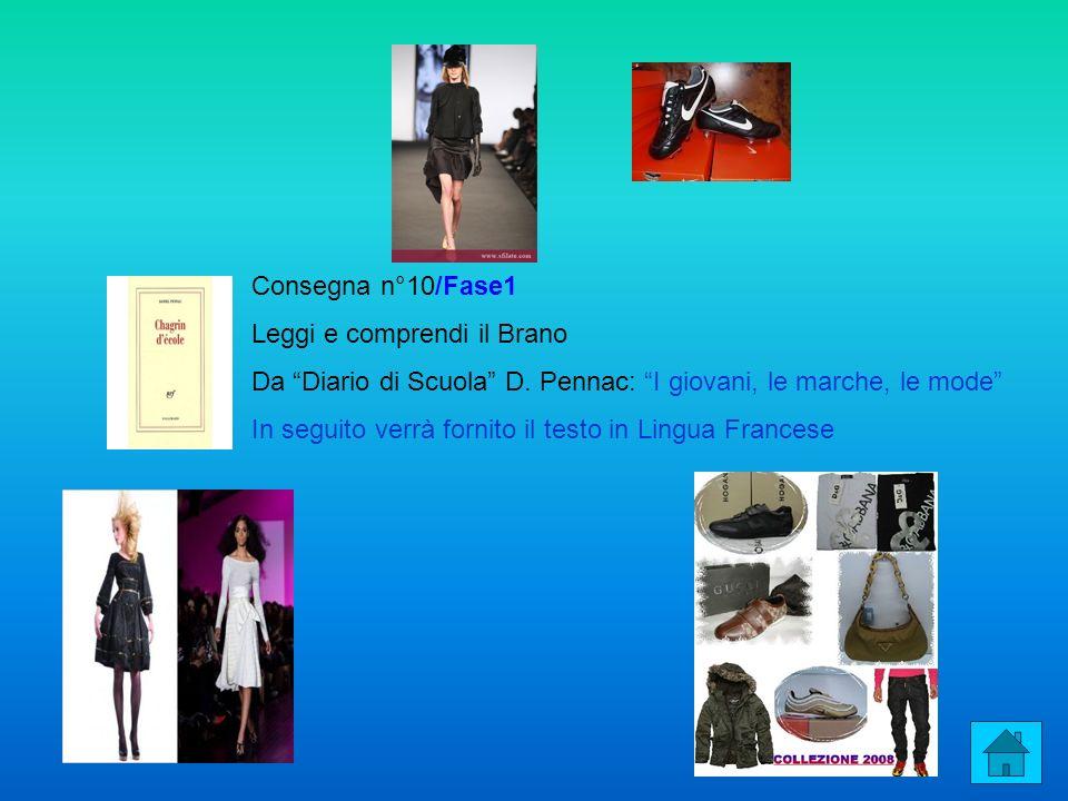 Consegna n°10/Fase1 Leggi e comprendi il Brano Da Diario di Scuola D. Pennac: I giovani, le marche, le mode In seguito verrà fornito il testo in Lingu