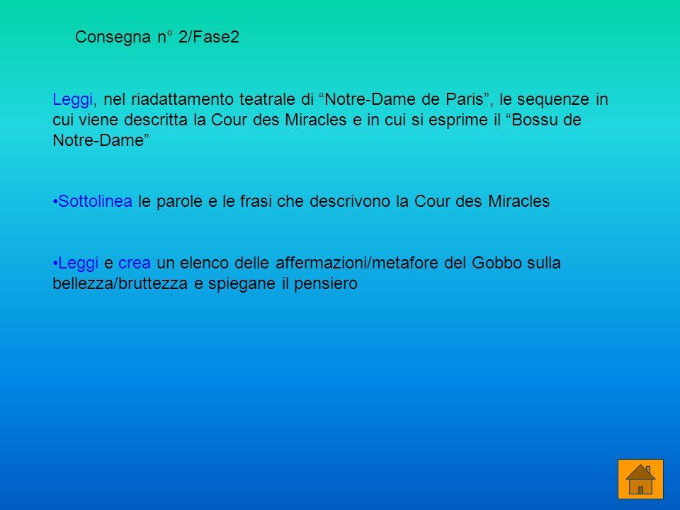 Leggi, nel riadattamento teatrale di Notre-Dame de Paris, le sequenze in cui viene descritta la Cour des Miracles e in cui si esprime il Bossu de Notr