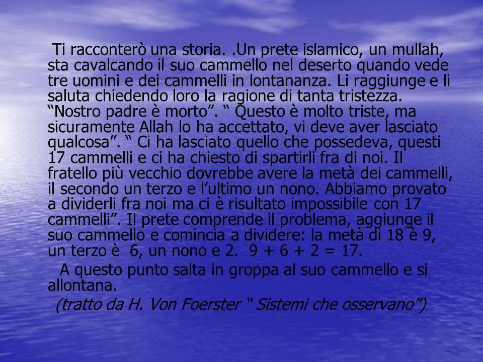 Ti racconterò una storia..Un prete islamico, un mullah, sta cavalcando il suo cammello nel deserto quando vede tre uomini e dei cammelli in lontananza