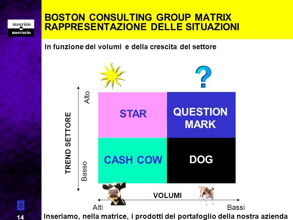 mercurio maurizio 14 BOSTON CONSULTING GROUP MATRIX RAPPRESENTAZIONE DELLE SITUAZIONI CASH COW DOG STAR QUESTION MARK VOLUMI AltiBassi TREND SETTORE B