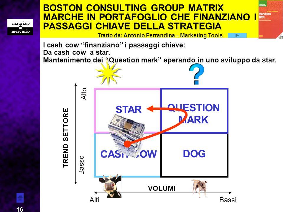 mercurio maurizio 16 BOSTON CONSULTING GROUP MATRIX MARCHE IN PORTAFOGLIO CHE FINANZIANO I PASSAGGI CHIAVE DELLA STRATEGIA CASH COW DOG STAR QUESTION