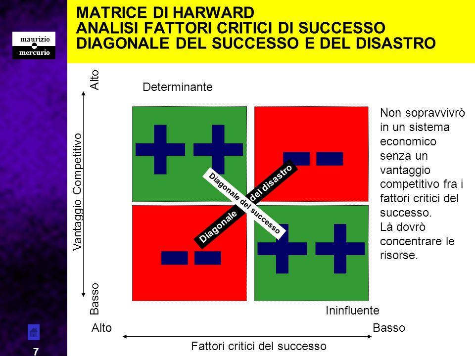 mercurio maurizio 18 MATRICE Forza Raffronto su due parametri: da una parte lattrattiva del mercato (dinamiche o profittabilità) e dallaltra la nostra competitività.