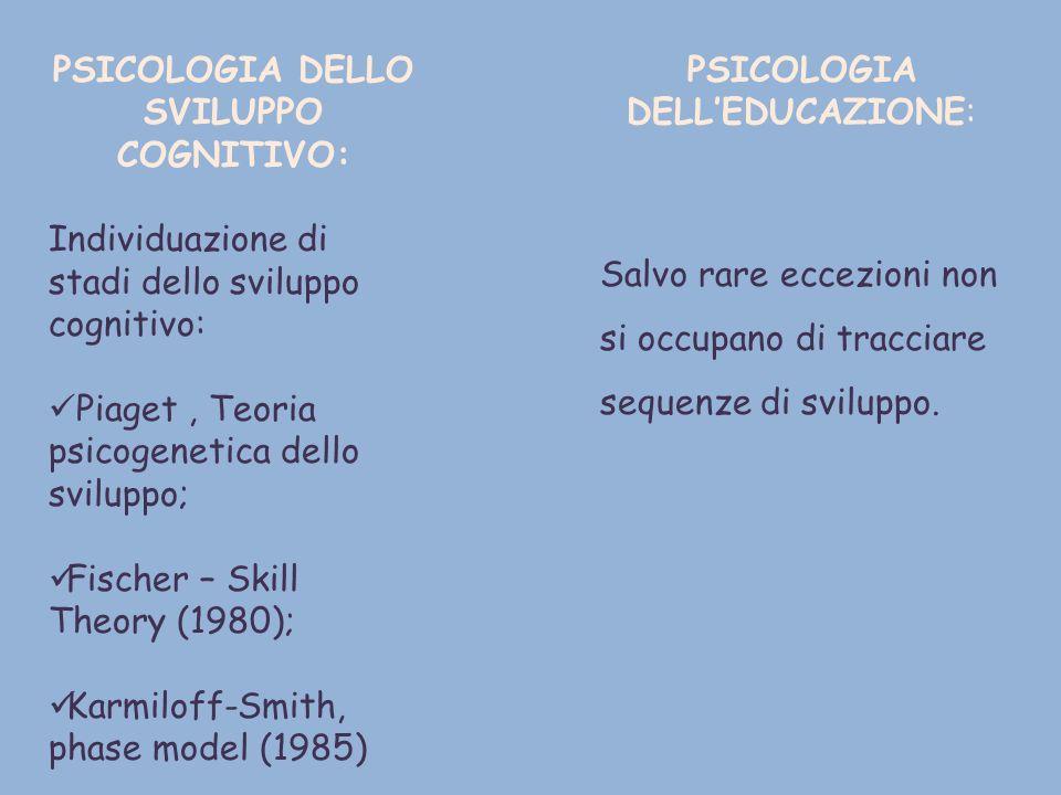 PSICOLOGIA DELLO SVILUPPO COGNITIVO: Individuazione di stadi dello sviluppo cognitivo: Piaget, Teoria psicogenetica dello sviluppo; Fischer – Skill Th
