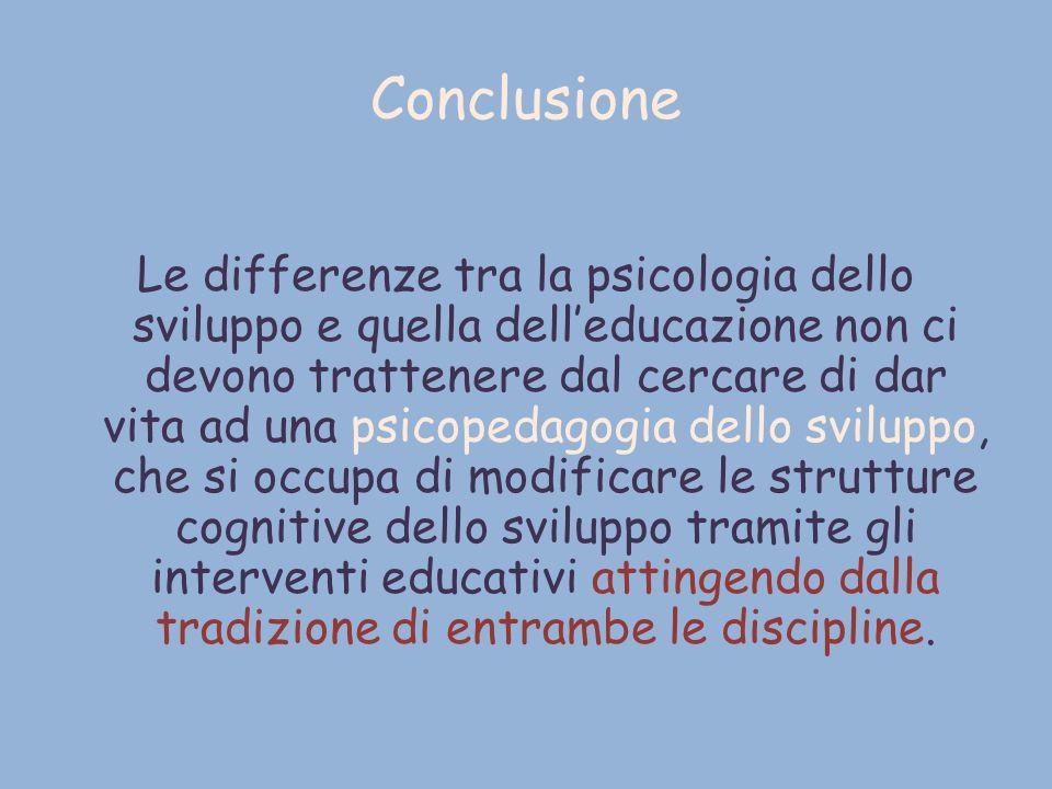 Conclusione Le differenze tra la psicologia dello sviluppo e quella delleducazione non ci devono trattenere dal cercare di dar vita ad una psicopedago