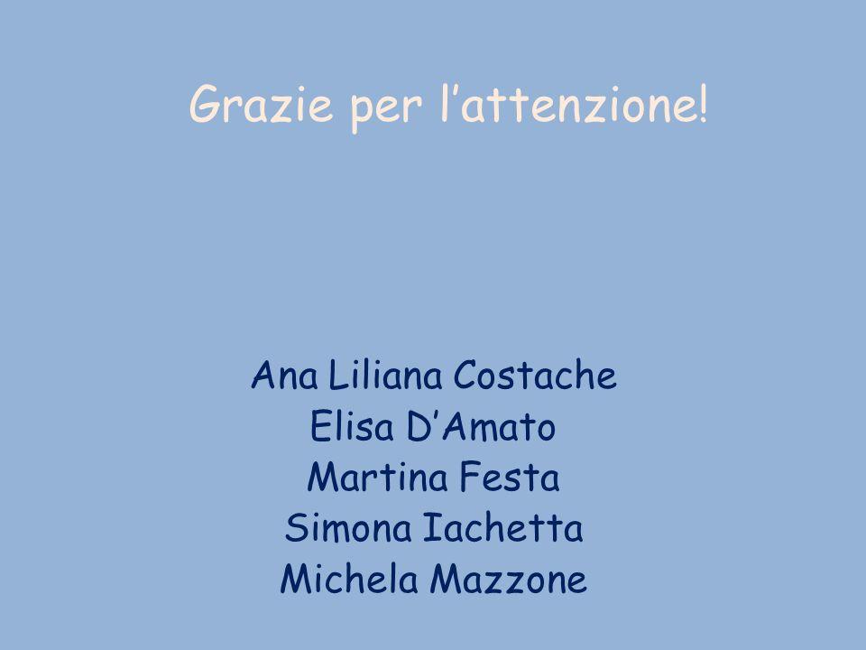 Grazie per lattenzione! Ana Liliana Costache Elisa DAmato Martina Festa Simona Iachetta Michela Mazzone
