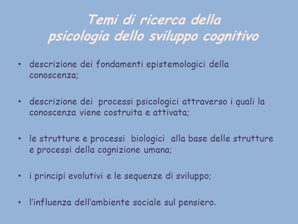 Temi di ricerca della psicologia dello sviluppo cognitivo descrizione dei fondamenti epistemologici della conoscenza; descrizione dei processi psicolo