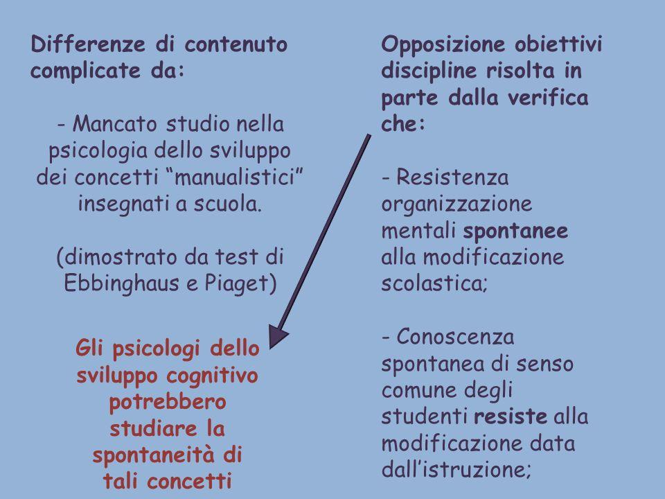 Differenze di contenuto complicate da: - Mancato studio nella psicologia dello sviluppo dei concetti manualistici insegnati a scuola. (dimostrato da t