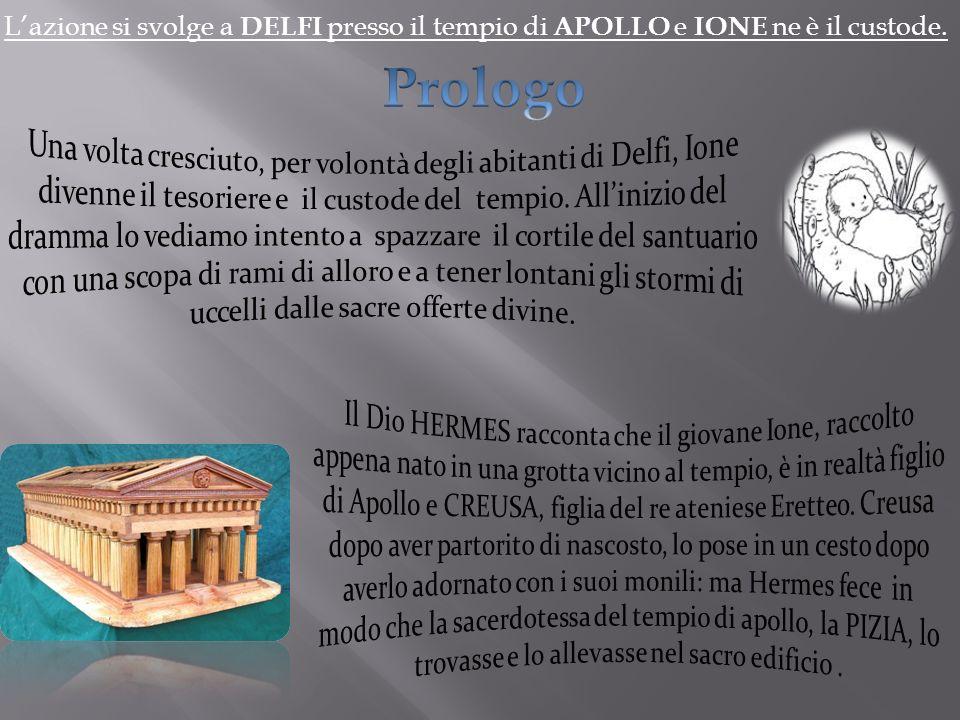 Lazione si svolge a DELFI presso il tempio di APOLLO e IONE ne è il custode.