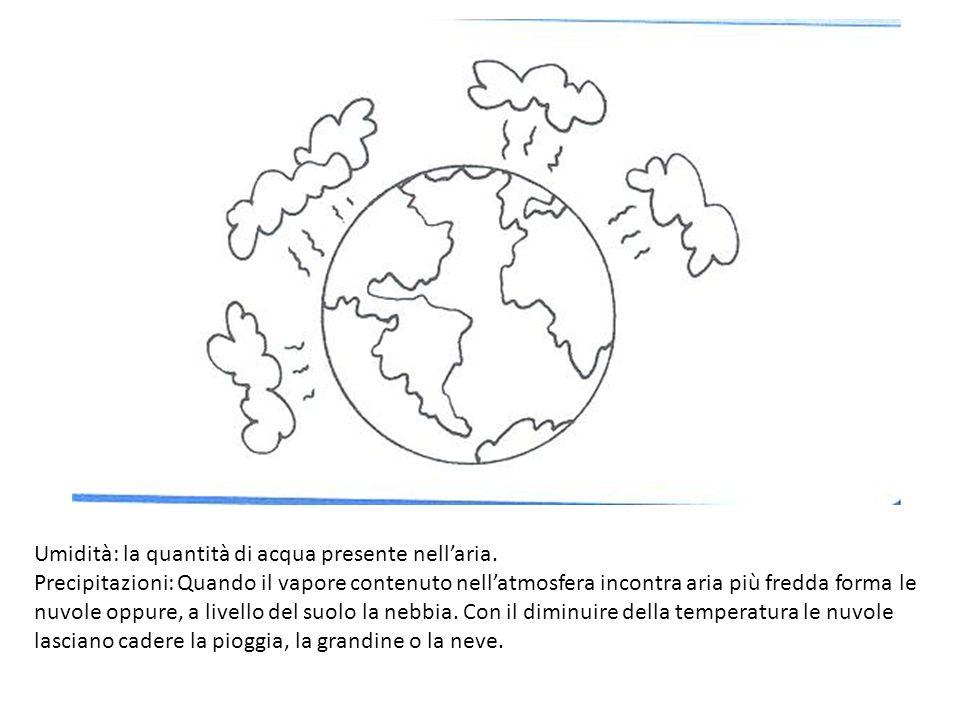 Umidità: la quantità di acqua presente nellaria. Precipitazioni: Quando il vapore contenuto nellatmosfera incontra aria più fredda forma le nuvole opp