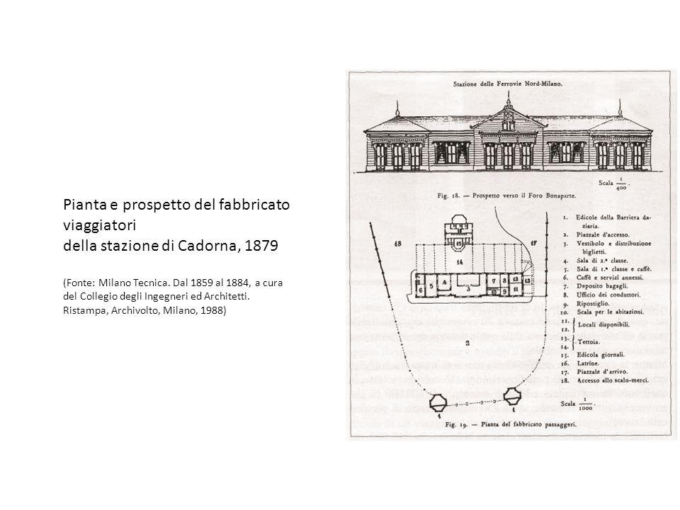Pianta e prospetto del fabbricato viaggiatori della stazione di Cadorna, 1879 (Fonte: Milano Tecnica.