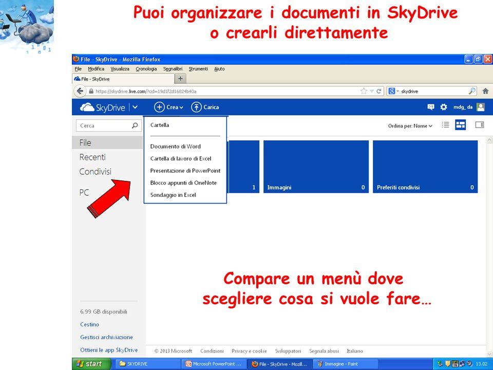 Puoi organizzare i documenti in SkyDrive o crearli direttamente Compare un menù dove scegliere cosa si vuole fare…