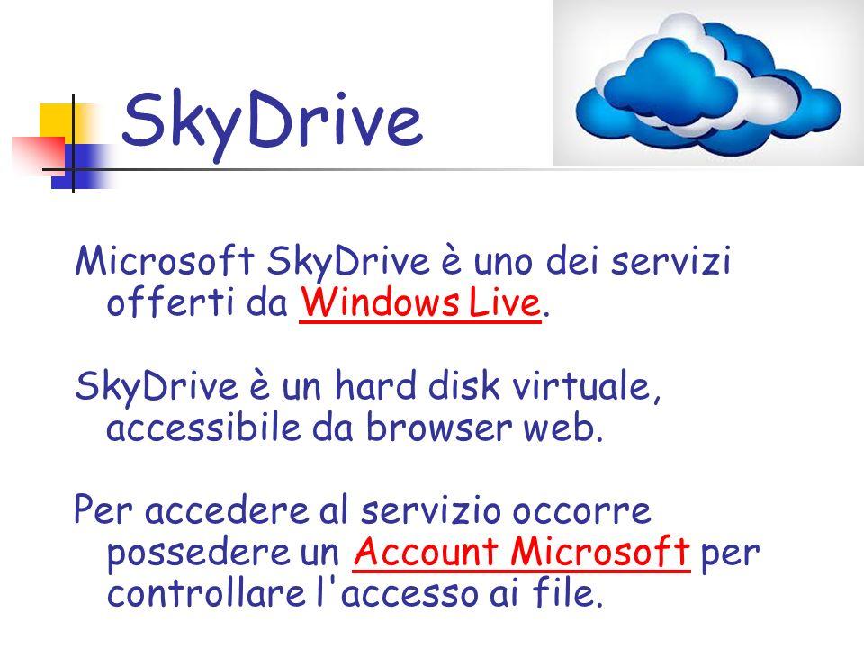 URL skydrive.live.com Commerciale?Sì Tipo di sitoOnline storage RegistrazioneObbligatoria ProprietarioMicrosoft Corporation Creato daMicrosoft Corporation