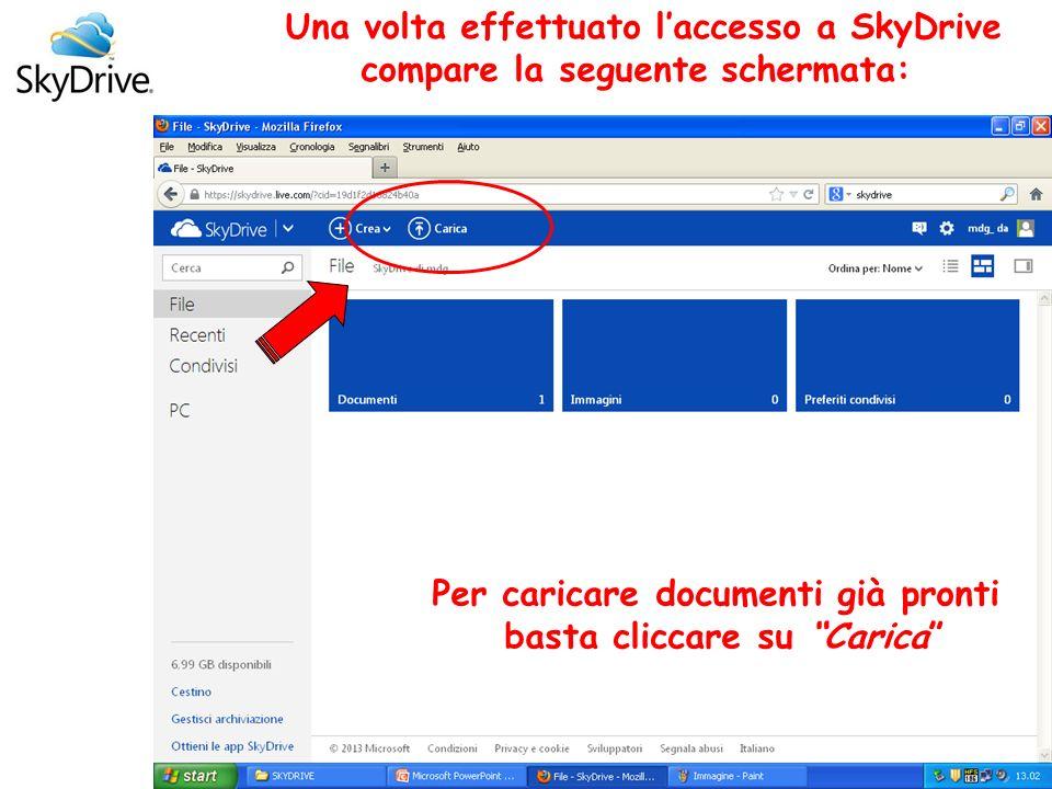 Una volta effettuato laccesso a SkyDrive compare la seguente schermata: Per caricare documenti già pronti basta cliccare su Carica