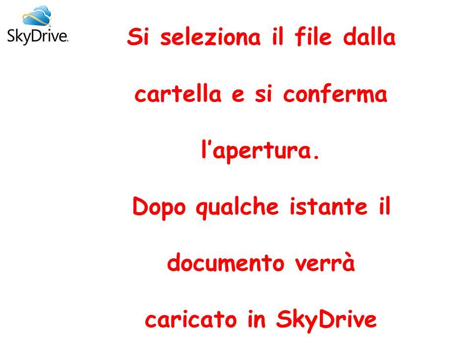 Puoi organizzare i documenti in SkyDrive o crearli direttamente Per organizzare o creare documenti basta cliccare su Crea