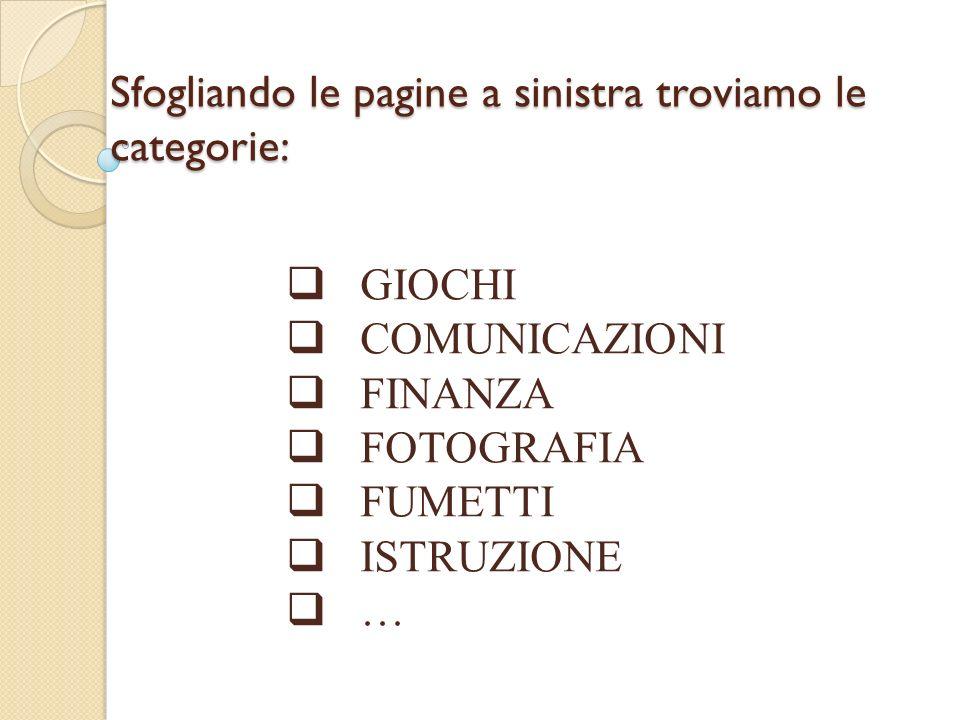 Sfogliando le pagine a sinistra troviamo le categorie: GIOCHI COMUNICAZIONI FINANZA FOTOGRAFIA FUMETTI ISTRUZIONE …