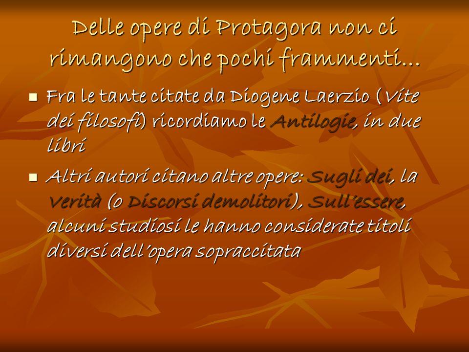 Delle opere di Protagora non ci rimangono che pochi frammenti... Fra le tante citate da Diogene Laerzio (Vite dei filosofi) ricordiamo le Antilogie, i