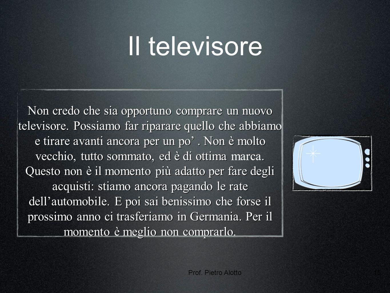 Prof. Pietro Alotto15 Il televisore Non credo che sia opportuno comprare un nuovo televisore.