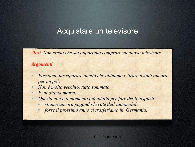 Prof. Pietro Alotto18 Acquistare un televisore