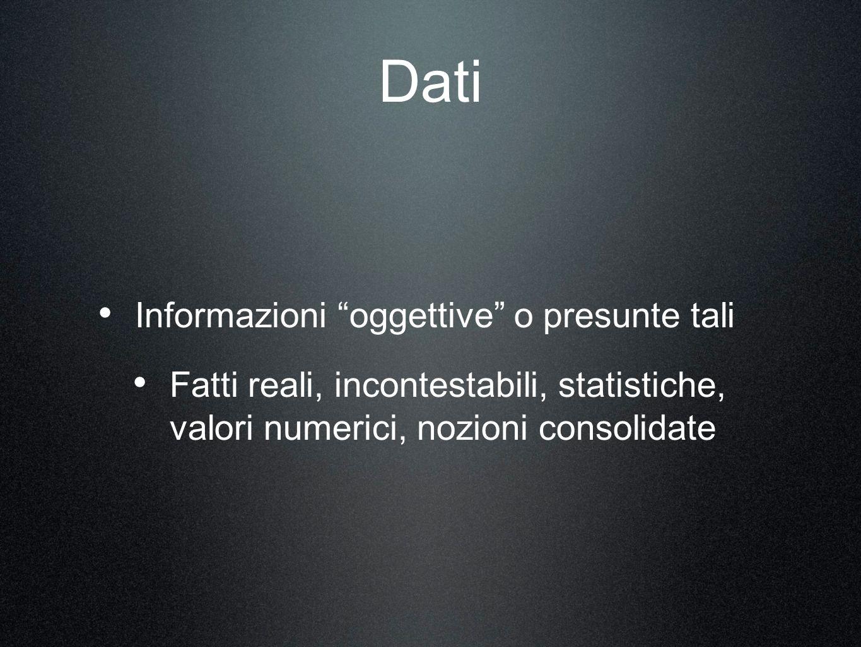 Dati Informazioni oggettive o presunte tali Fatti reali, incontestabili, statistiche, valori numerici, nozioni consolidate