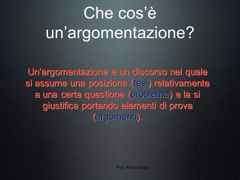 Prof. Pietro Alotto16 Che cosè unargomentazione.