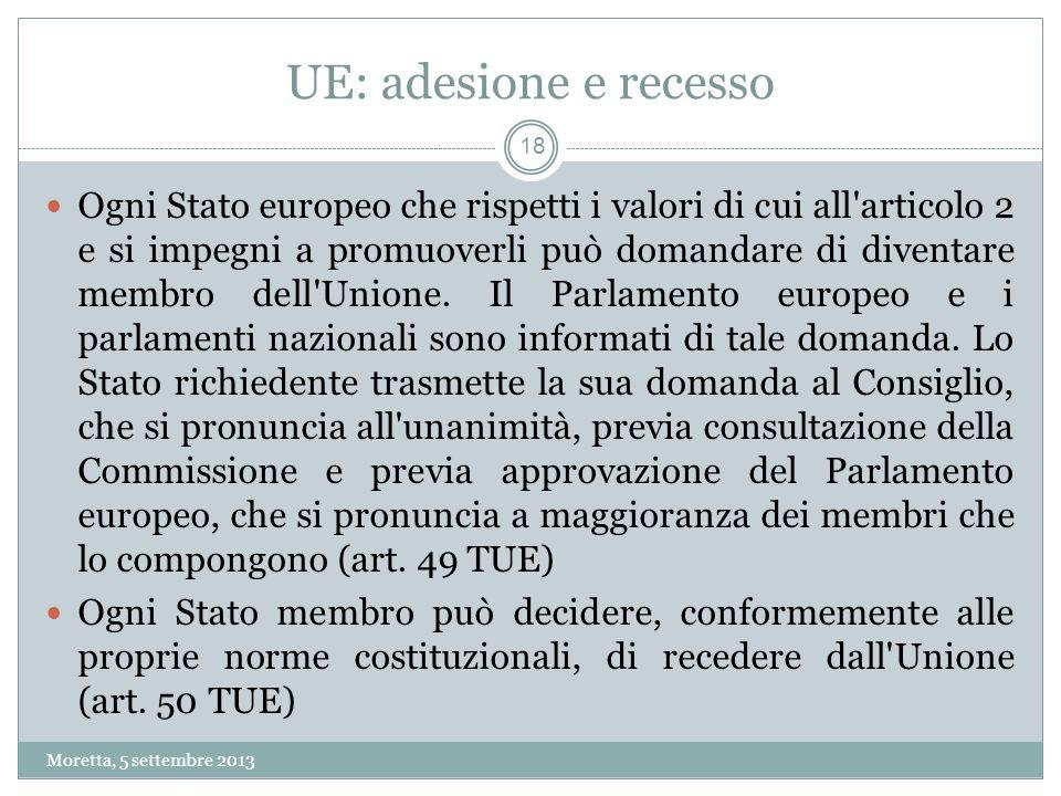 UE: adesione e recesso Ogni Stato europeo che rispetti i valori di cui all articolo 2 e si impegni a promuoverli può domandare di diventare membro dell Unione.