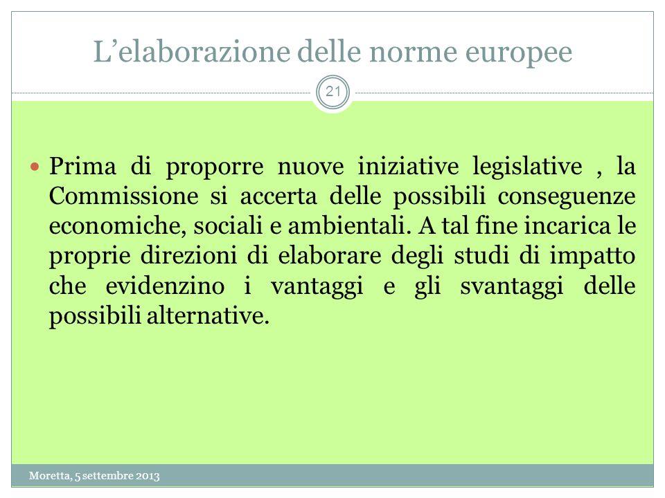 21 Lelaborazione delle norme europee Prima di proporre nuove iniziative legislative, la Commissione si accerta delle possibili conseguenze economiche, sociali e ambientali.