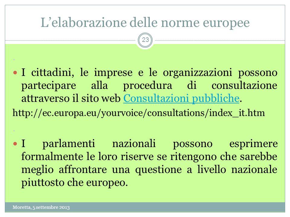 23 Lelaborazione delle norme europee.