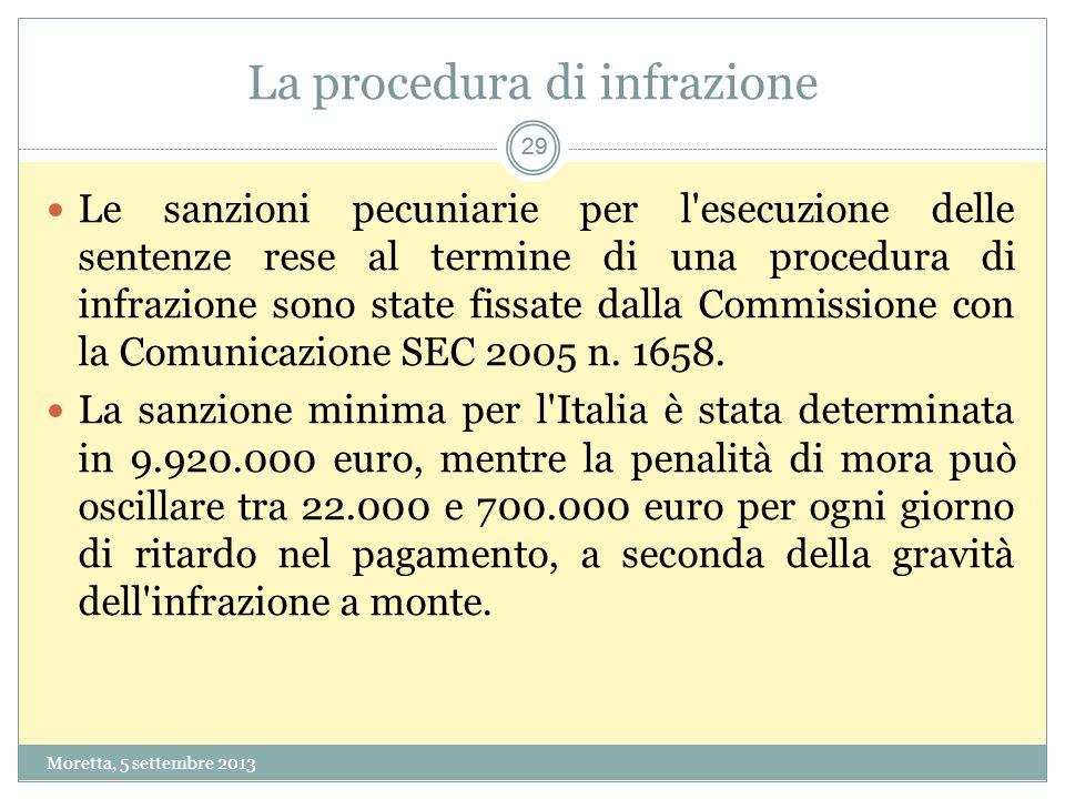 29 La procedura di infrazione Moretta, 5 settembre 2013 29 Le sanzioni pecuniarie per l esecuzione delle sentenze rese al termine di una procedura di infrazione sono state fissate dalla Commissione con la Comunicazione SEC 2005 n.