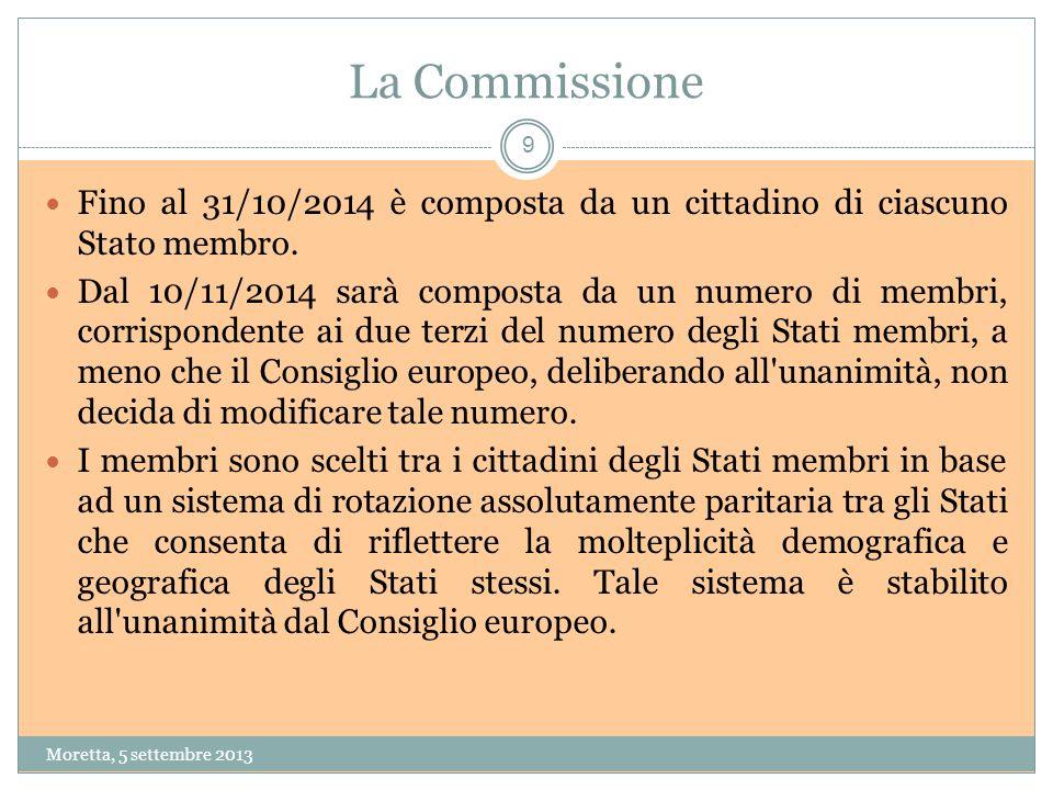 La Commissione Fino al 31/10/2014 è composta da un cittadino di ciascuno Stato membro.