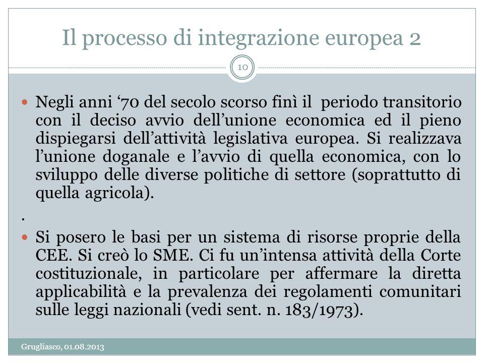 Il processo di integrazione europea 2 Grugliasco, 01.08.2013 10 Negli anni 70 del secolo scorso finì il periodo transitorio con il deciso avvio dellun