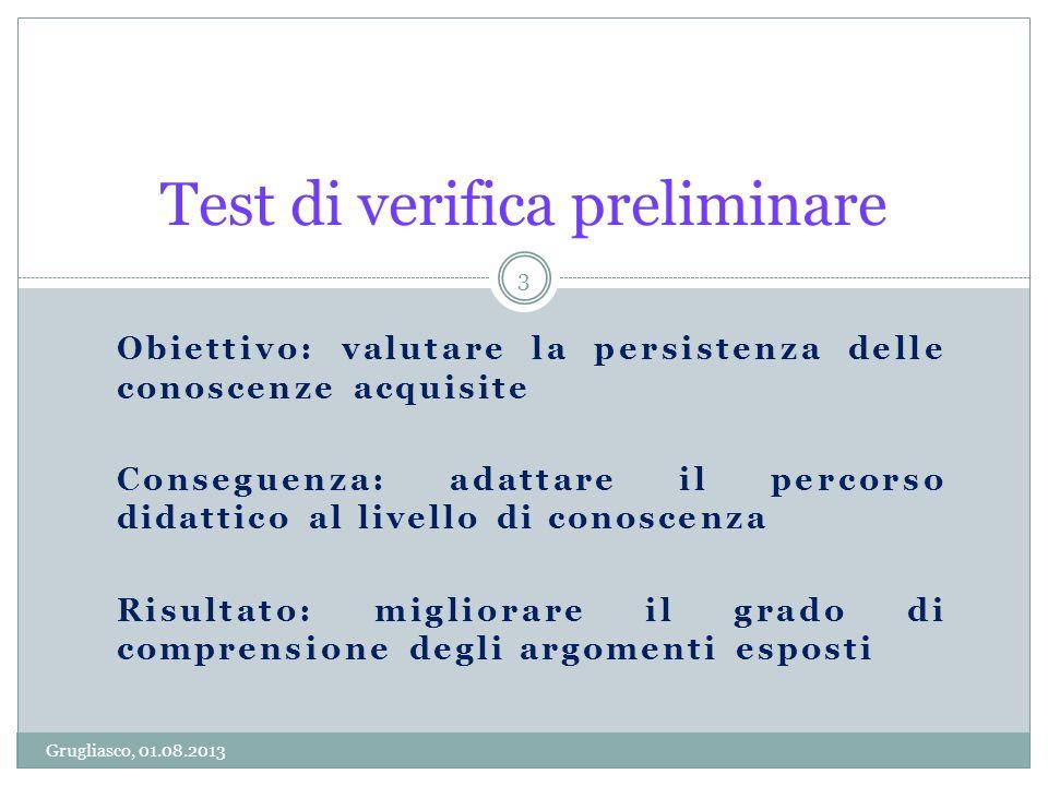 Obiettivo: valutare la persistenza delle conoscenze acquisite Conseguenza: adattare il percorso didattico al livello di conoscenza Risultato: migliora