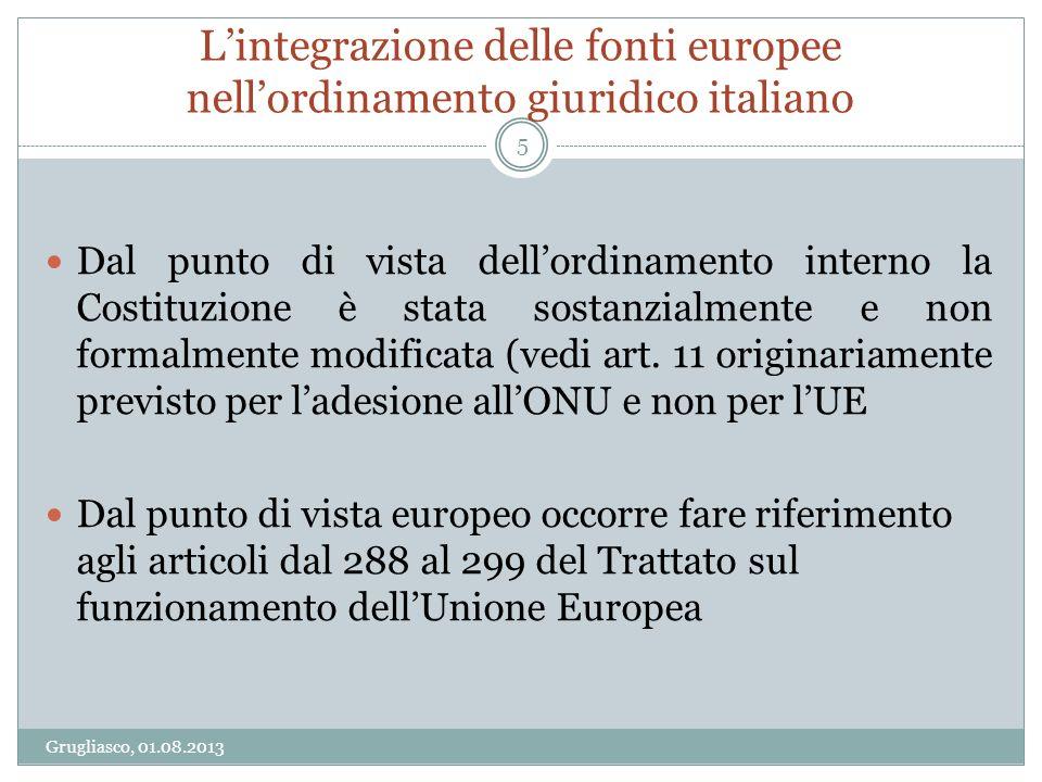 Lintegrazione delle fonti europee nellordinamento giuridico italiano Grugliasco, 01.08.2013 5 Dal punto di vista dellordinamento interno la Costituzio