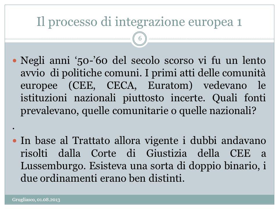 Il processo di integrazione europea 1 Grugliasco, 01.08.2013 6 Negli anni 50-60 del secolo scorso vi fu un lento avvio di politiche comuni. I primi at