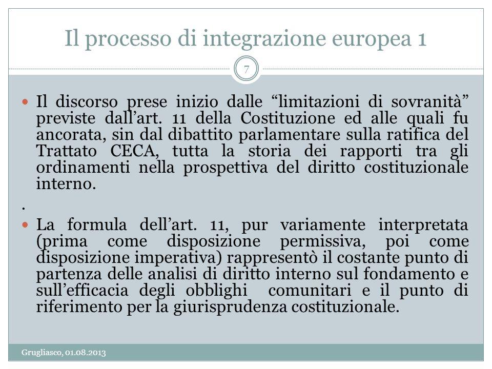 Il processo di integrazione europea 1 Grugliasco, 01.08.2013 8 La Corte costituzionale ha rappresentato listituzione interna che più ha contribuito allintegrazione del diritto europeo con quello italiano.