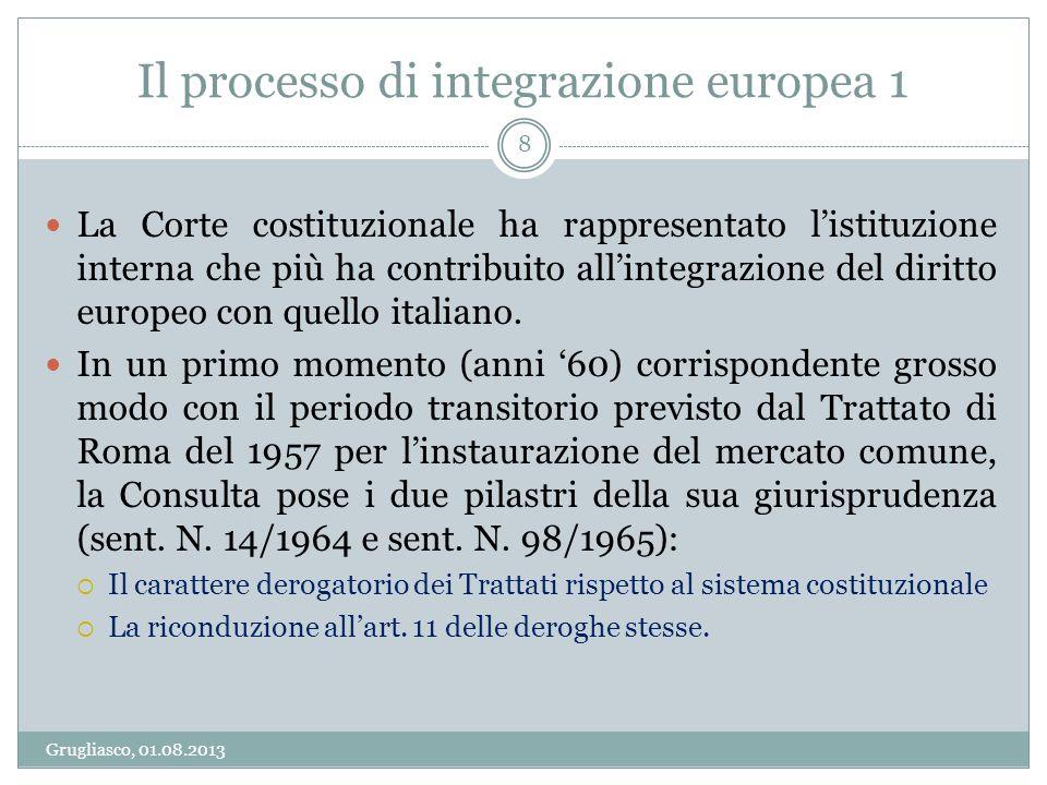 Il processo di integrazione europea 1 Grugliasco, 01.08.2013 8 La Corte costituzionale ha rappresentato listituzione interna che più ha contribuito al