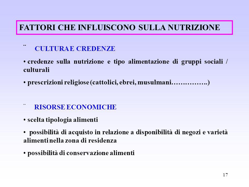 17 CULTURA E CREDENZE credenze sulla nutrizione e tipo alimentazione di gruppi sociali / culturali prescrizioni religiose (cattolici, ebrei, musulmani
