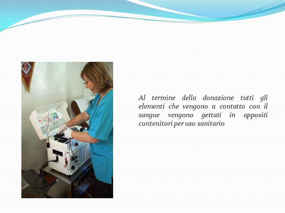 Al termine della donazione tutti gli elementi che vengono a contatto con il sangue vengono gettati in appositi contenitori per uso sanitario