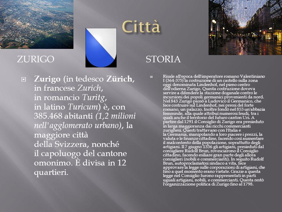 ZURIGOSTORIA Zurigo (in tedesco Zürich, in francese Zurich, in romancio Turitg, in latino Turicum ) è, con 385.468 abitanti (1,2 milioni nell'agglomer