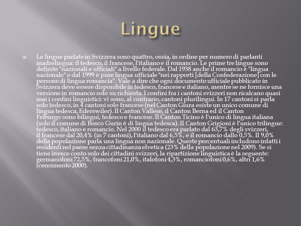 Le lingue parlate in Svizzera sono quattro, ossia, in ordine per numero di parlanti madrelingua: il tedesco, il francese, l'italiano e il romancio. Le