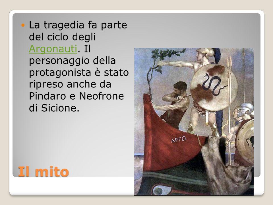 Il mito La tragedia fa parte del ciclo degli Argonauti. Il personaggio della protagonista è stato ripreso anche da Pindaro e Neofrone di Sicione. Argo