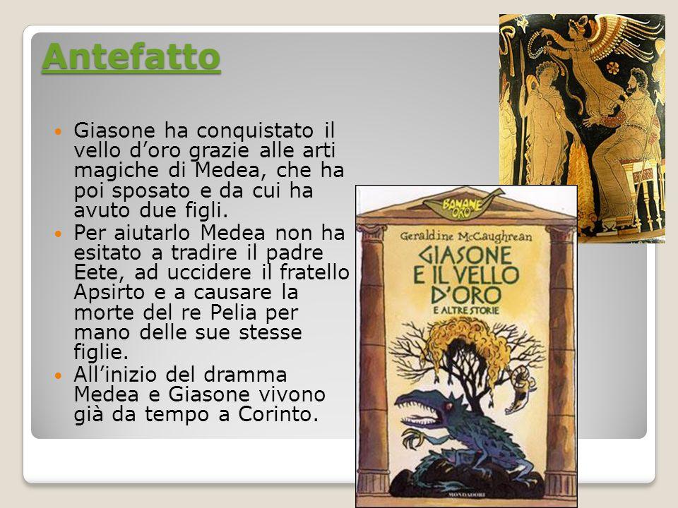 Antefatto Giasone ha conquistato il vello doro grazie alle arti magiche di Medea, che ha poi sposato e da cui ha avuto due figli. Per aiutarlo Medea n