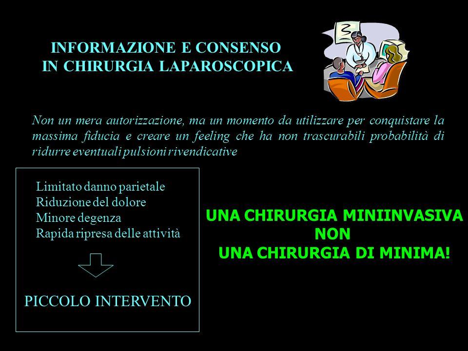 INFORMAZIONE E CONSENSO IN CHIRURGIA LAPAROSCOPICA UNA CHIRURGIA MINIINVASIVA NON UNA CHIRURGIA DI MINIMA! Non un mera autorizzazione, ma un momento d