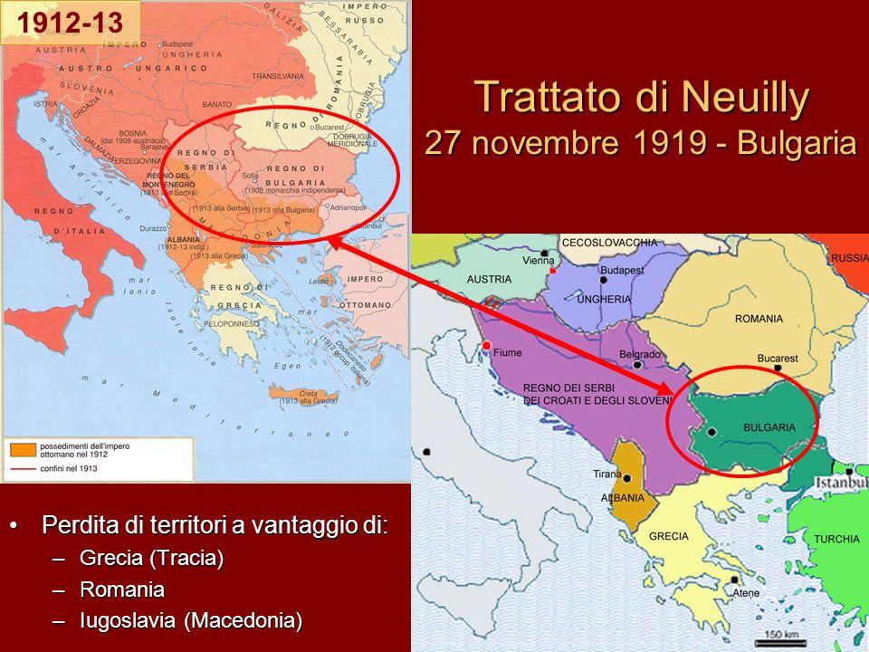 Trattato di Neuilly 27 novembre 1919 - Bulgaria Perdita di territori a vantaggio di:Perdita di territori a vantaggio di: –Grecia (Tracia) –Romania –Iu